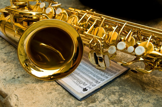 Saxophone together with notes