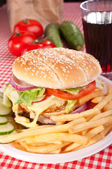 cheeseburger, french fries and cola