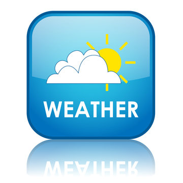 """Square """"WEATHER"""" button with reflection"""