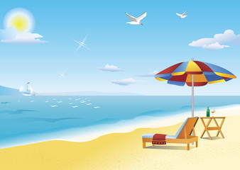 Chaise longue, beach table and beach umbrella