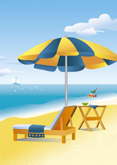Beach umbrella, chaise lounge and a drink on a beach table