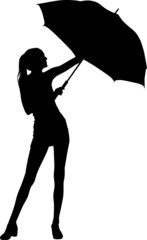 Silhouette girl whit umbrella
