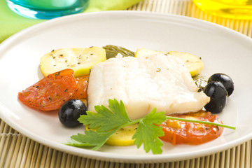 fillet of cod baked tomatoes zucchini black olives