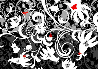 Abstract floral ornament with butterflies and dragonflies