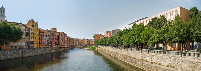 Girona's riverside Old City Panorame