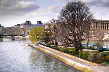 View of Ile de la Cite in Paris in spring