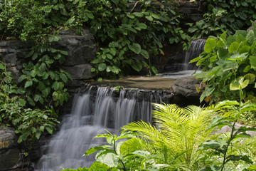 Sunlit Gentle Waterfall