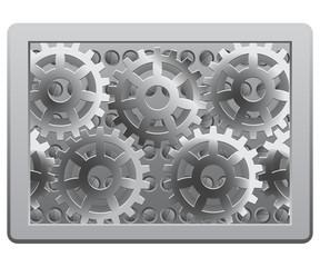 Gears in the metal frame