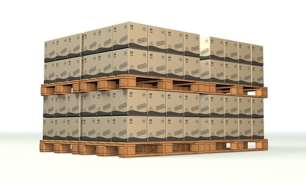 Europaletten mit Kartons 06 - Logistik