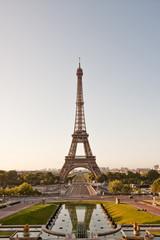Eiffel tower in the morning. Portrait orientation.