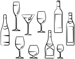 Wineglasses and Bottles - Vector illustration