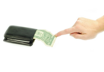 hand taking money from a wallet