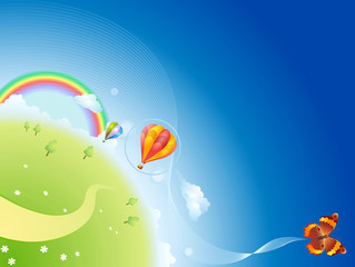Summer planet with a rainbow, balloons and butterfly
