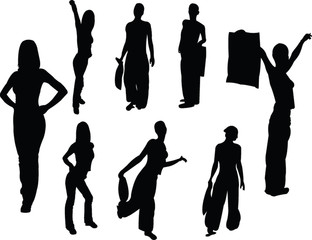 collection of fashion girls - vector