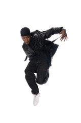 Cool young hip-hop man on white background