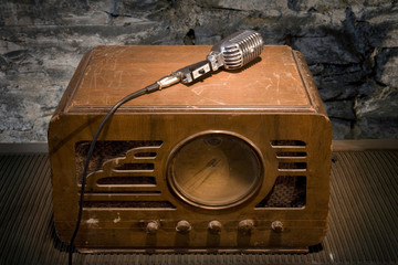 Vintage Radio with Microphone