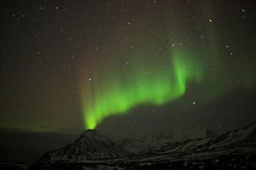 Northern lights, volcano, Spitsbergen