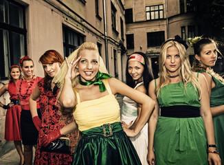 Group of beautiful women retro portrait