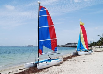 catamarans on a key biscayne beach