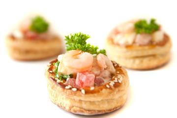 Volauvents with shrimp salad