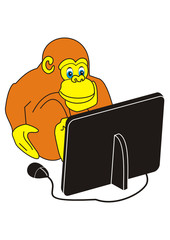 Monkey and computer (laptop)