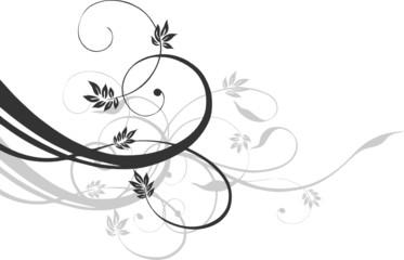 Filigrane Ranke, mit Blumen, floral, schwarz