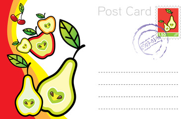 Vector postcard template with fruits
