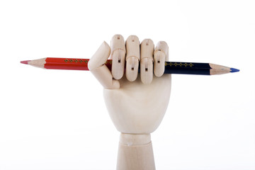 Wooden Hand Holding Pencil