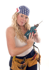 sexy contractor construction lady with tools