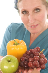 nurse or doctor medical female with healthy vegetables