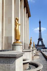 Eiffel Tower viewed behind Trocadero Palace
