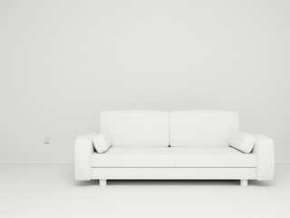 3d Render Of Empty Room With Couch And Socket