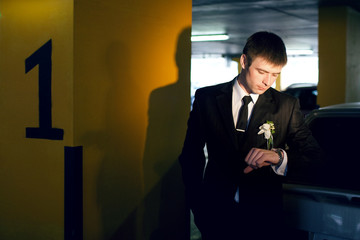 groom with watch
