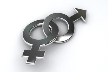 Mann Frau Symbol Chrom