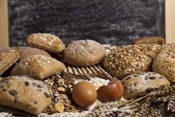 Loaf of bread over background