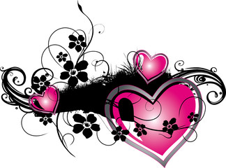 Romantik, Liebe, Valentin, Wiese mit Herzen