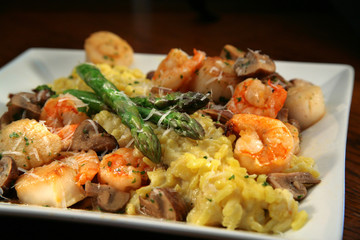 Shrimp and Scallops with Yellow Rice and Asparagus