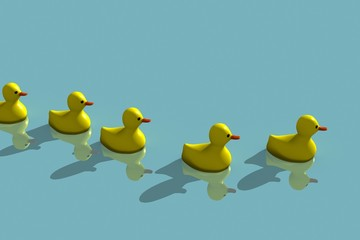 rubber yellow duck family on water