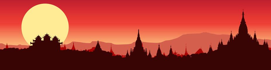 Illustrative panoramic view of Bagan in Myanmar
