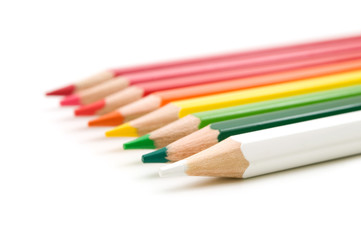 colors pencils on white background
