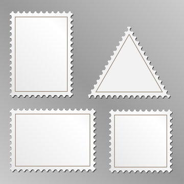 Vector set of blank postage stamps isolated