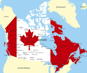 Canada country coloured by national flag