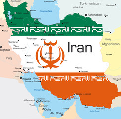 Iran country colored by national flag