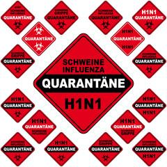 h1n1 schild quarantäne
