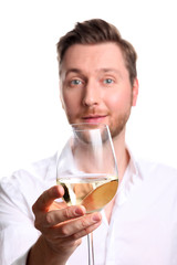 man with glas of wine