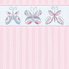 hand draw  butterflies on  pink striped background