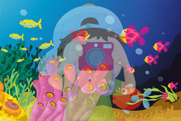 Poster Submarine reflection