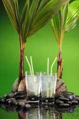 Two glasses of fresh cold coconut juice