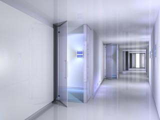 3D rendering of a corridor scene