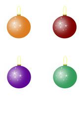 four christmas ball, vector